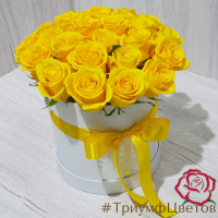 Коробка с 25 желтыми розами