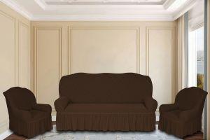 """Комплект чехлов КП311С """"Жаккард"""" из 3х предметов (трехместный диван и 2 кресла), арт.KAR 011-01 K.Kahve"""
