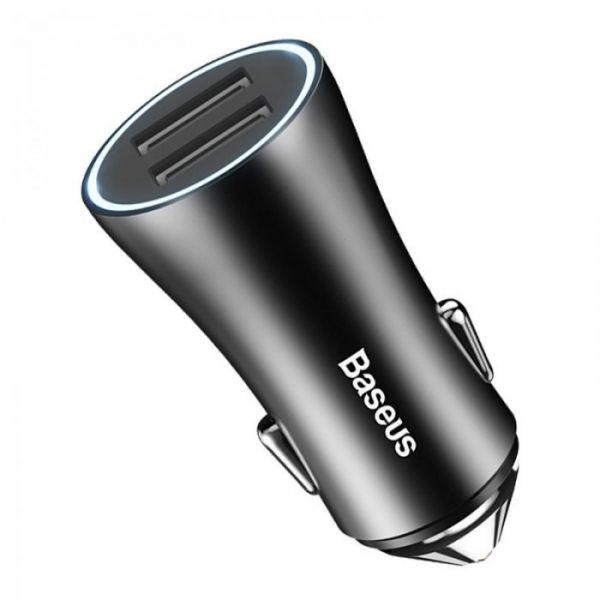 Автомобильное зарядное устройство Baseus Golden Contactor Dual U Intelligent Car Charger Черный