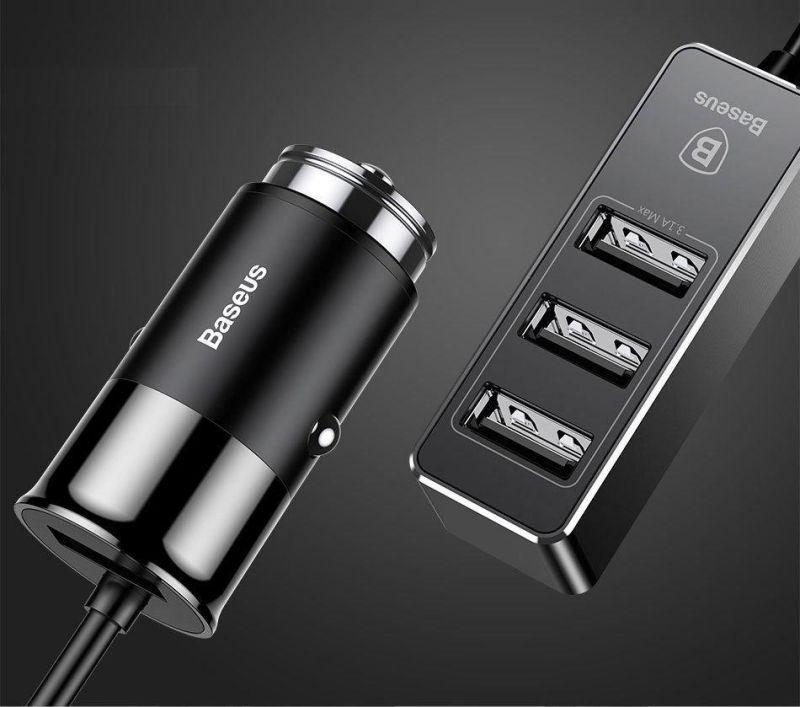 Автомобильное зарядное устройство Baseus Enjoy Together Four Interfaces Output Patulous Car Charger 5.5A Черный