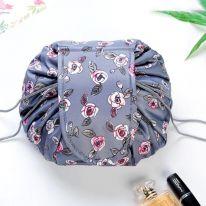 Ленивая нейлоновая косметичка-мешок с рисунком на липучке, серый с розами