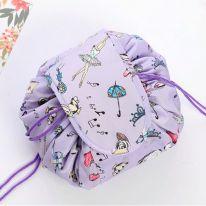 Ленивая нейлоновая косметичка-мешок с рисунком на липучке, сиреневый с балериной