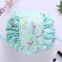 Ленивая нейлоновая косметичка-мешок с рисунком на липучке, бирюзовый с фламинго