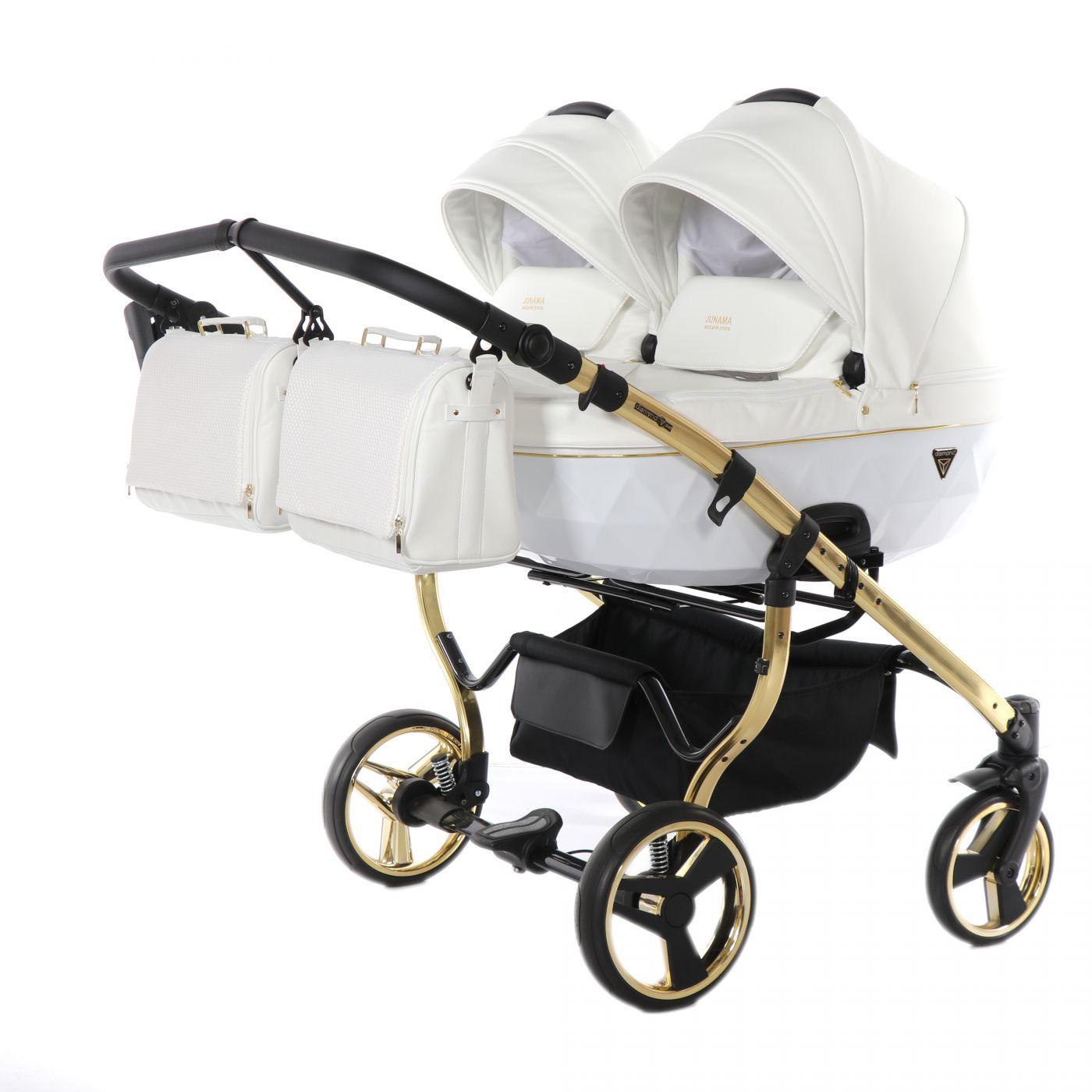 Junama Diamond Individual DUO JDI-04, белый/золотая рама - коляска детская для двойни 2в1