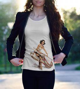 """Пин Ап футболка """"Девушка и ветер"""""""