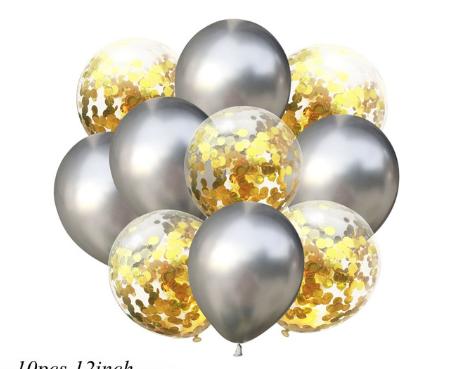 Цветные латексные шары воздушные шары с конфетти золото и хром серебро