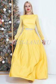 Желтое вечернее платье в пол с длинными рукавами