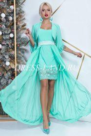 Бирюзовое платье-двойка с болеро