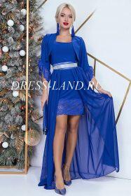 Синее платье-двойка с болеро