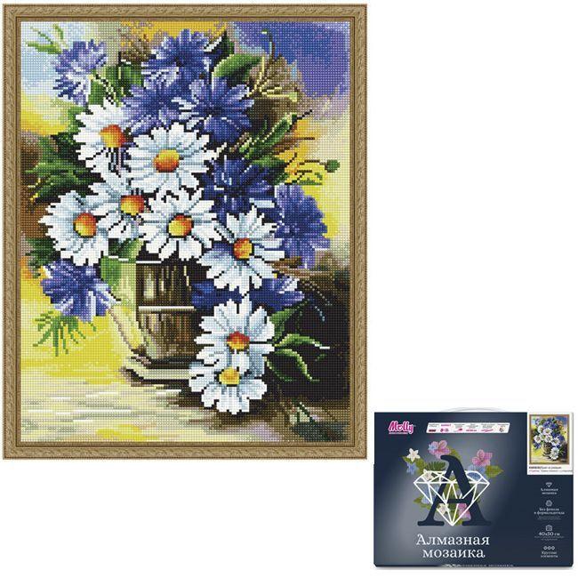 Набор Картина мозаика с нанесенной рамкой.Букет из ромашек 40*50см KM0830