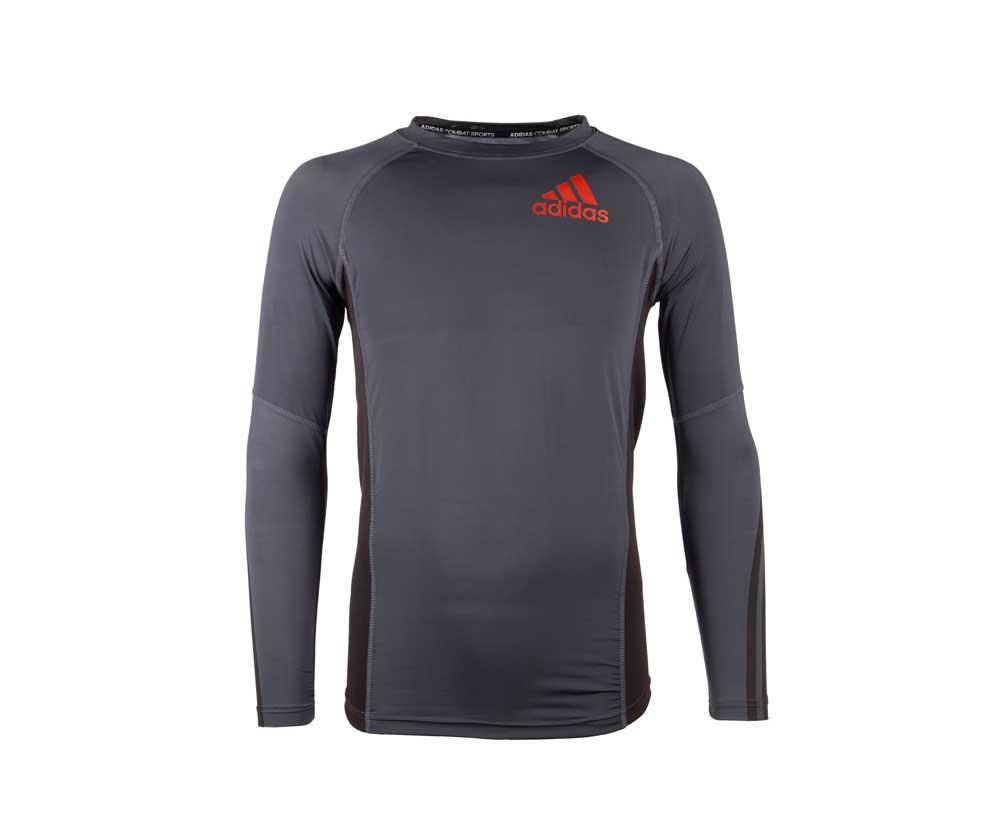 Футболка Adidas компрессионная (Рашгард) Grappling Rashguard Long Sleeve черно-красная, артикул adiBJJR02