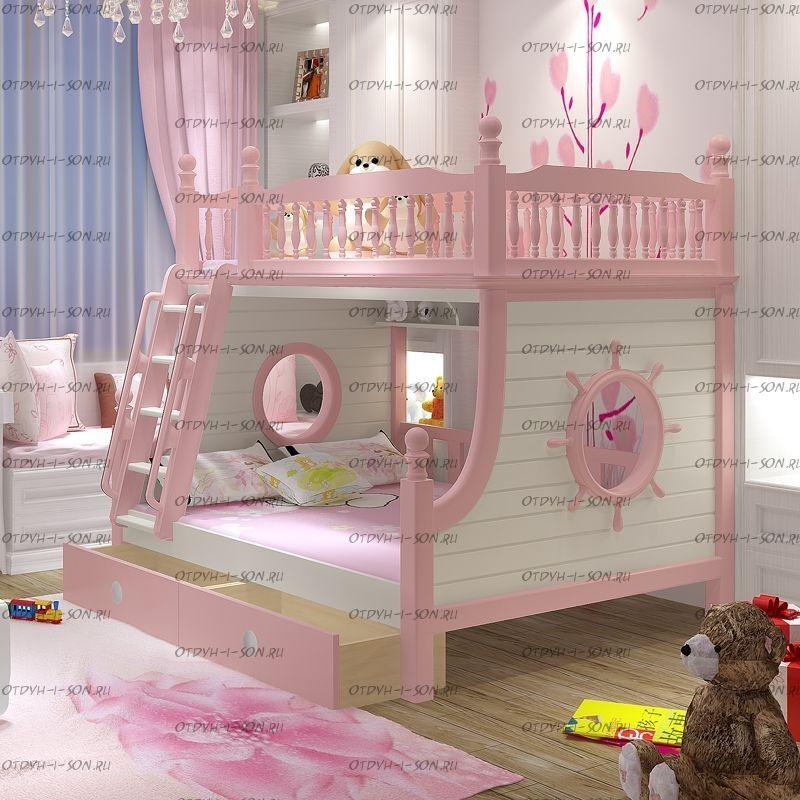Кровать двухъярусная домик Принцесса Fantasy №IR06