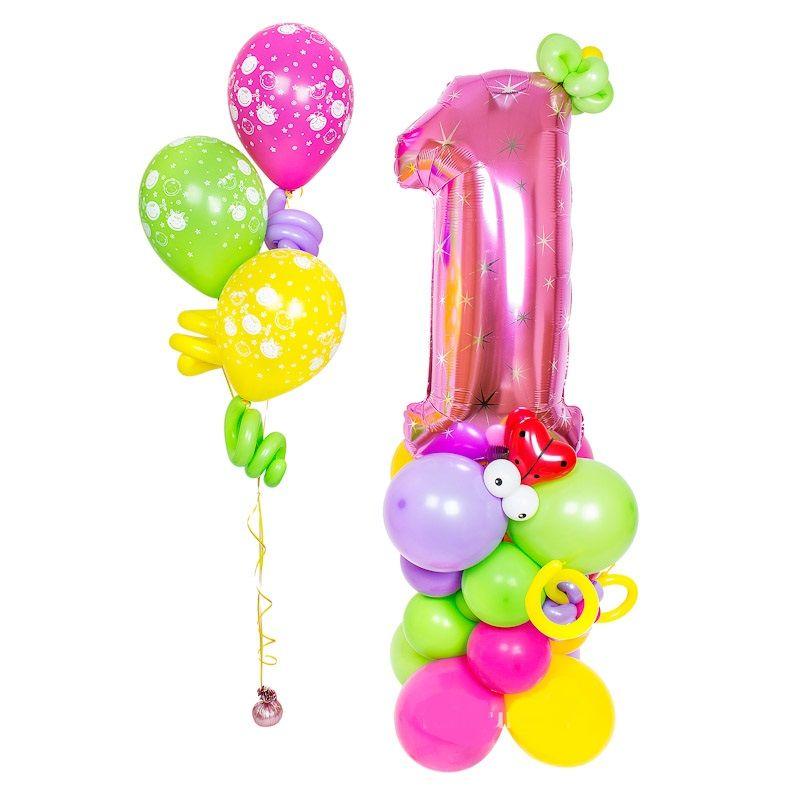 Фигура из шаров «Стойка с цифрой (для девочки)»