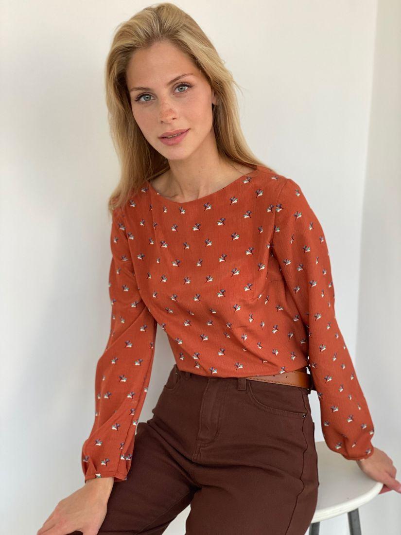 s2169 Блуза с букетиками