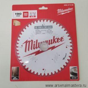 Диск пильный по дереву 190 x 30 x 2.1 мм 48Z для циркулярной пилы Milwaukee 4932471380