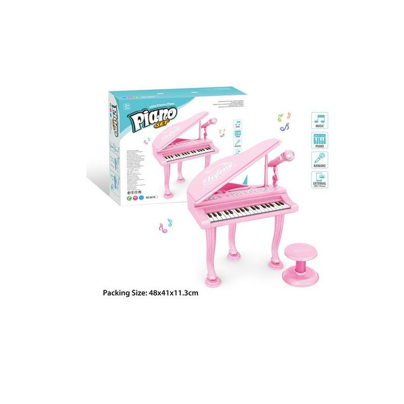 881B  Детское пианино со стулом и микрофоном на батарейках