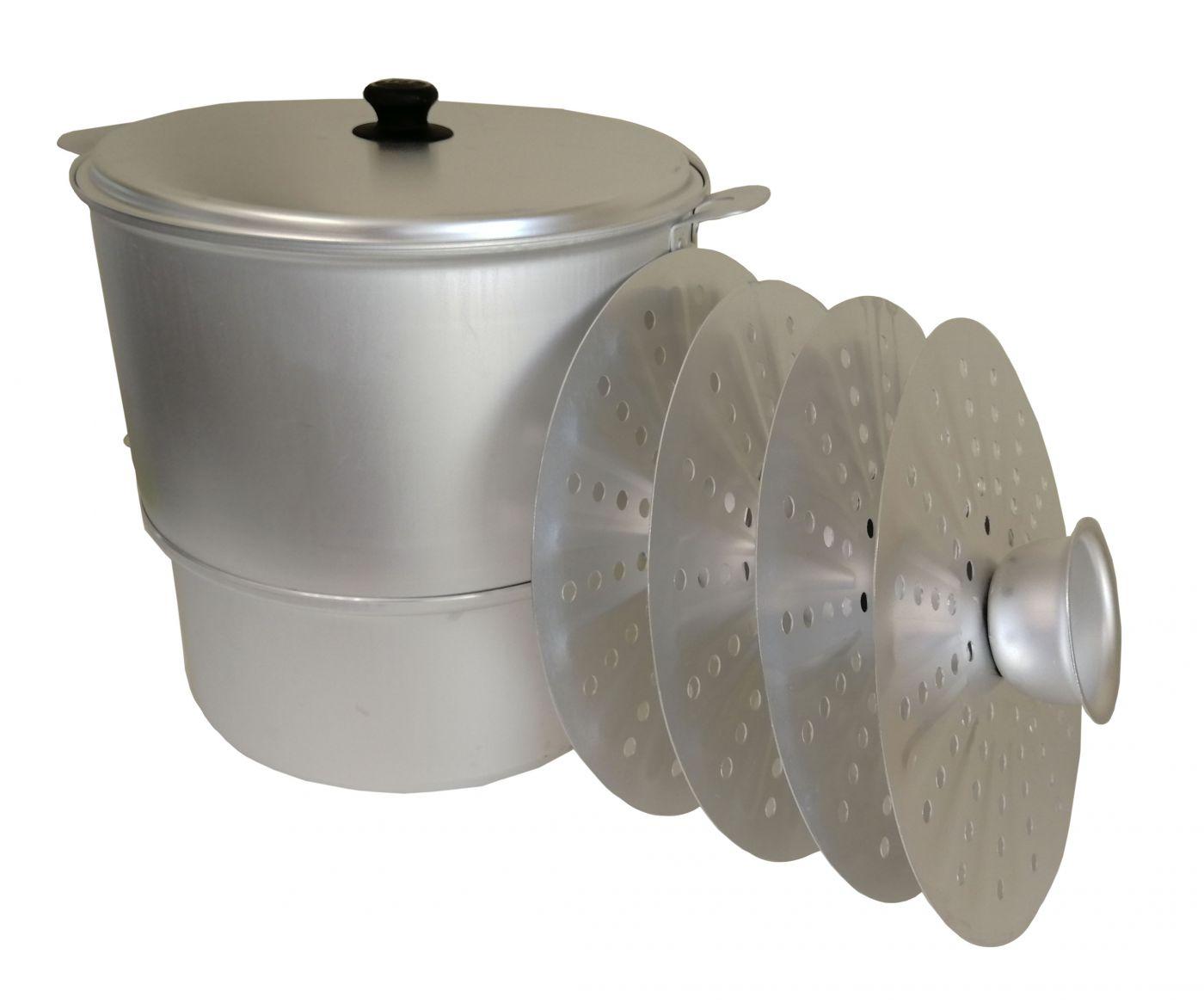 Мантоварка алюминиевая 10 литров с 4 сетками  диаметр 34 см до 3,6 кг с новым увеличенным корпусом Манты-Казан Калитва 18104