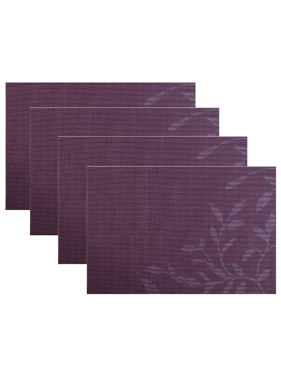Набор из 4-х прямоугольных кухонных термосалфеток Dutamel плейсмат салфетка сервировочная - фиолетовые узоры DTM-026 45*30 см