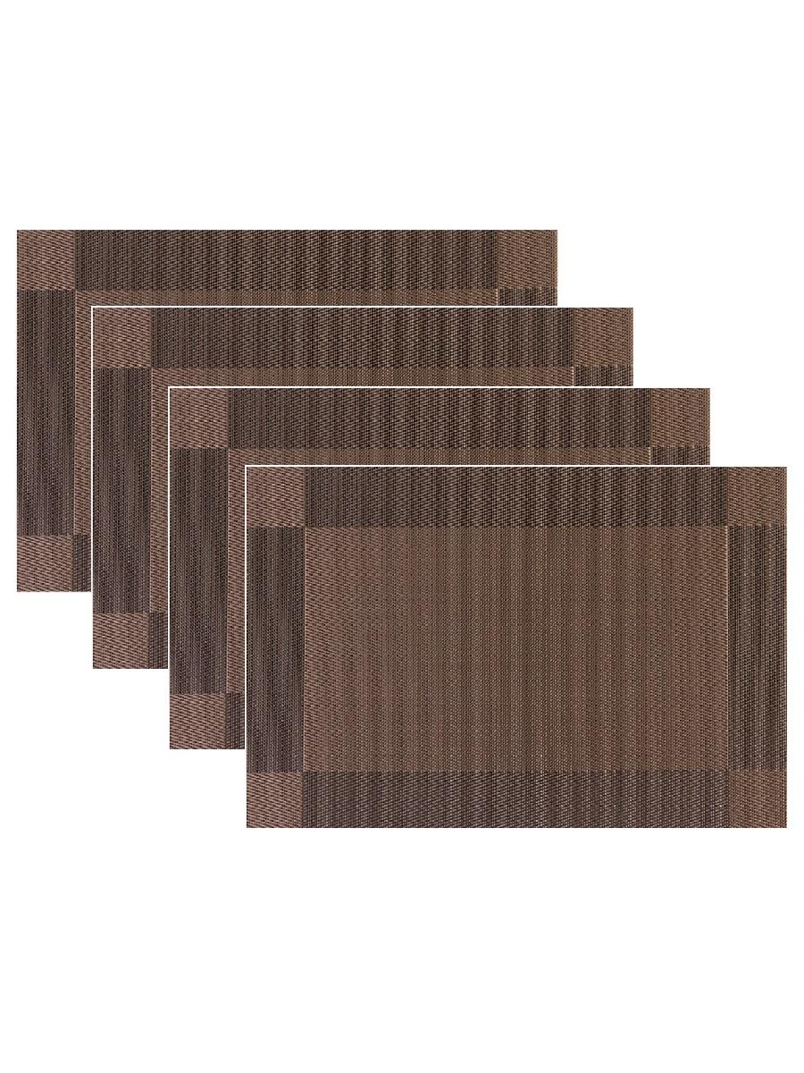 Набор из 4-х прямоугольных кухонных термосалфеток Dutamel плейсмат салфетка сервировочная - рамка коричневая DTM-021 45*30 см