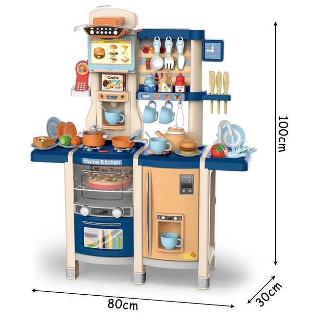 MJL-89  Детская кухня игровая, набор интерактивный с водой и паром 100 см.