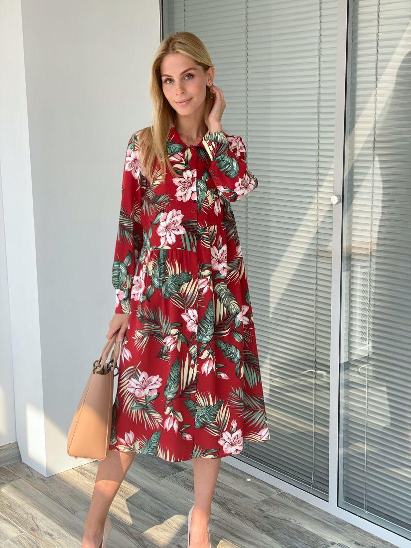 s2199 Платье-рубашка красное с цветами свободное с асимметричной линией талии