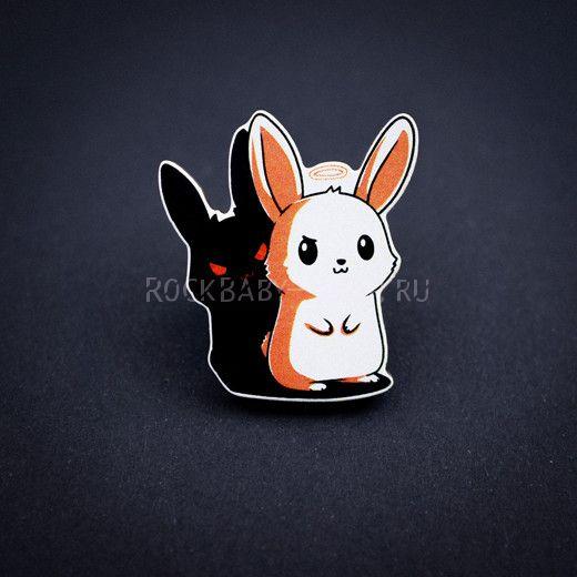 Деревянный значок Милый заяц