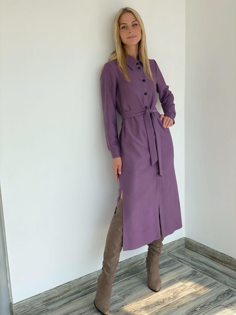 s2214 Платье-рубашка из микровельвета