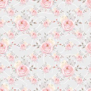 Хлопок Перкаль Акварельные розы 50х37