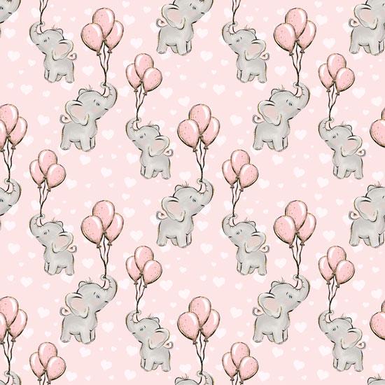 Хлопок Перкаль Слоники на розовом 50х37