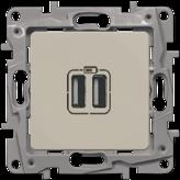 Зарядка USB двойная 240В/5В 2400мA - слоновая кость, Legrand Etika