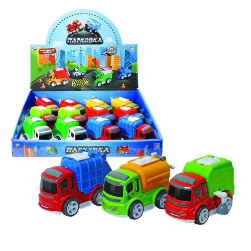 1toy Парковка Городская техника, мусоровоз, фрикционная машинка, 8 см, в ассортименте