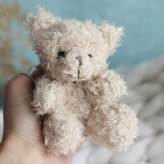 Мишка для куклы бежевый,  10 см