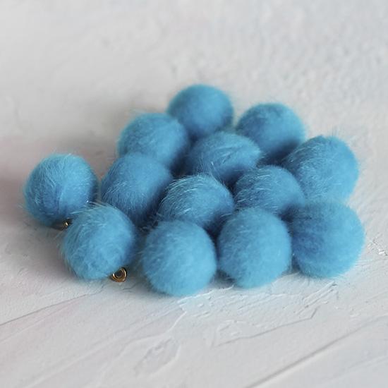 Бусина-подвеска пушистая синяя