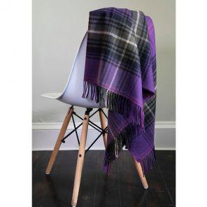 Легкий шотландский плед, тартан Вересковый Тартан LOCHCARRON HEATHER TARTAN LAMBSWOOL BLANKET, плотность 6.