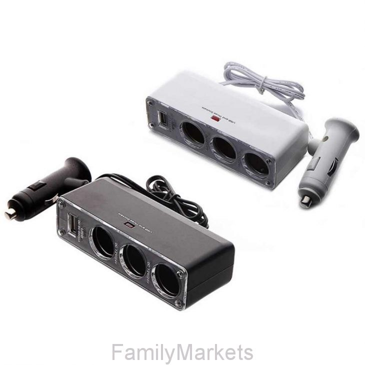 Авторазветвитель прикуривателя на 3 гнезда 12-31v + usb Lighted 12-31V and usb adapter