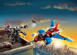 Конструктор LARI Super Heroes  Реактивный самолёт Человека-Паука против Робота Венома 11500 (Аналог LEGO Super Heroes  76150) 389 дет