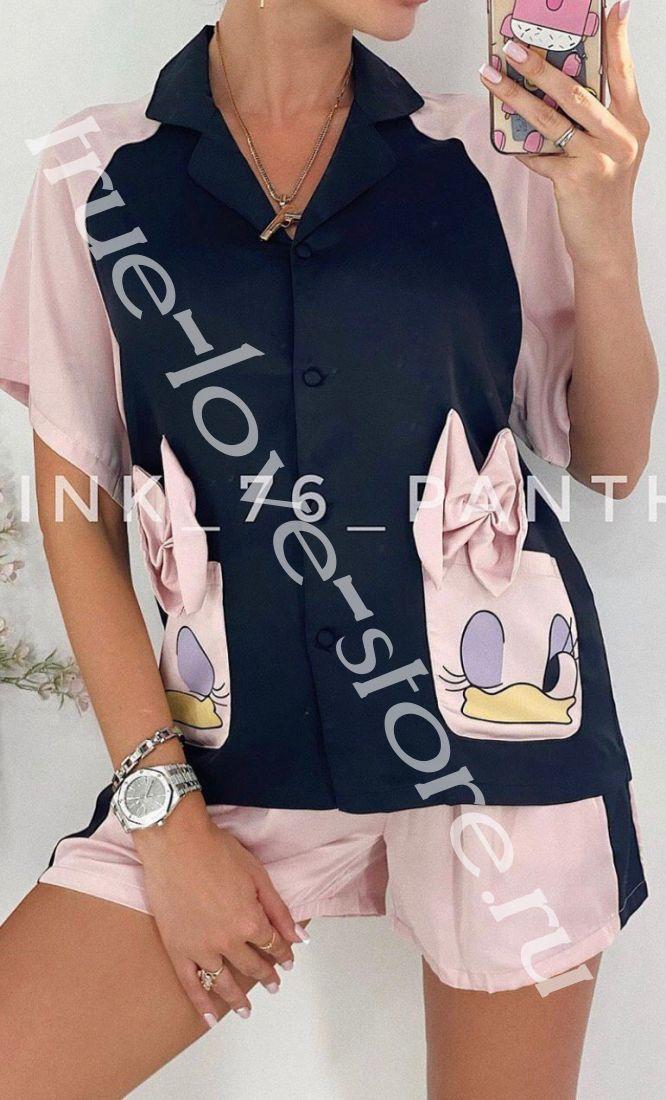 720006-Пижама двойка(3шт) Gucci ( Поночка с бантами)(M,L,XL)
