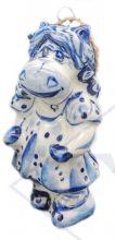 Ёлочная игрушка Коровка в платьице Гжель.
