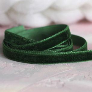 Лента бархатная  10 мм Темно-зеленая