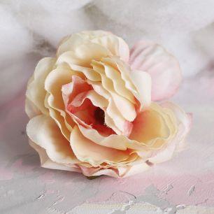 Цветок тканевый Роза желто-розовая 5 см