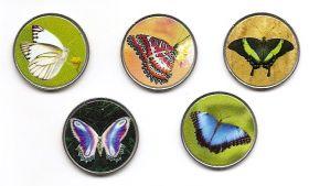 Бабочки Набор монет  2 писо Палау-Пинанг 2020 (5 монет)