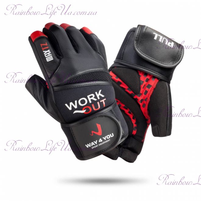 """Перчатки для тяжелой атлетики и фитнеса c напульсником муж. """"Way4you"""""""