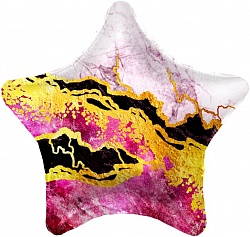 Шар (19''/48 см) Звезда, Мрамор, Розовый, 1 шт., Agura