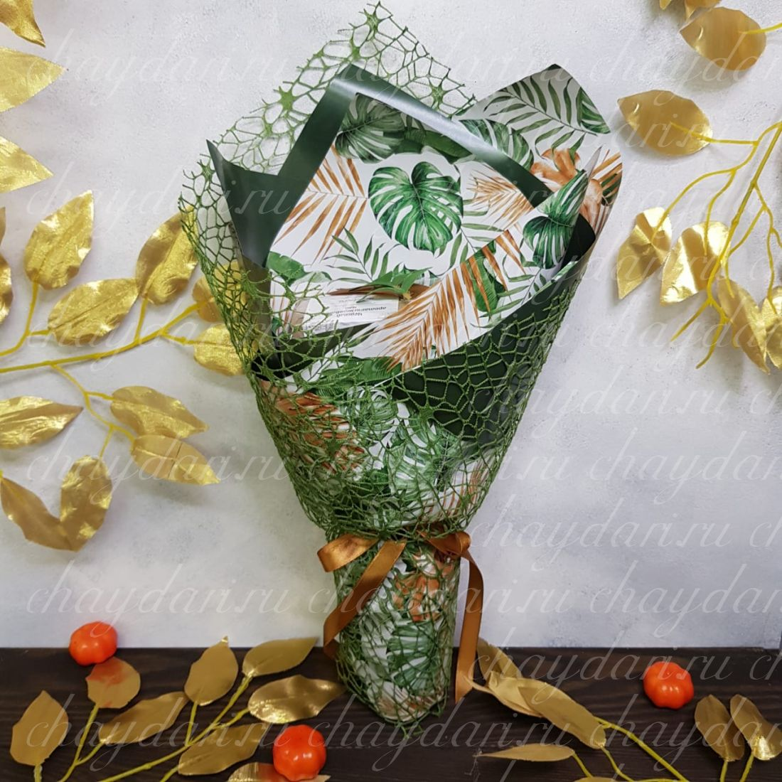 """Букет из чая """"Тропические листья"""""""