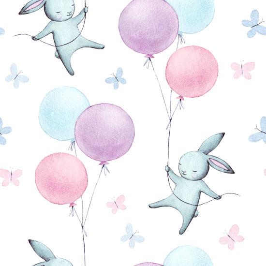 Хлопок Перкаль Зайчики и воздушные шарики  50х37
