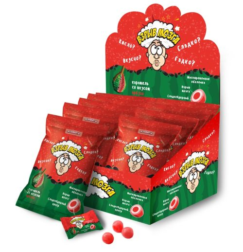 ВЗРЫВ МОЗГА карамель со вкусом арбуза в пакете