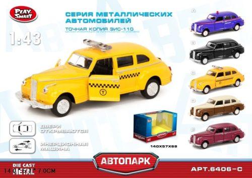 Play Smart инерционная металлическая   машинка такси ,  14х5,7х7см