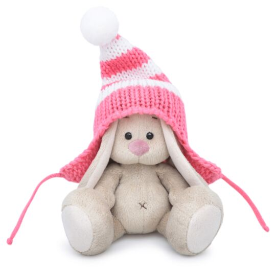Мягкая игрушка BUDI BASA SidX-287 Зайка Ми в полосатой розовой шапке 15 см