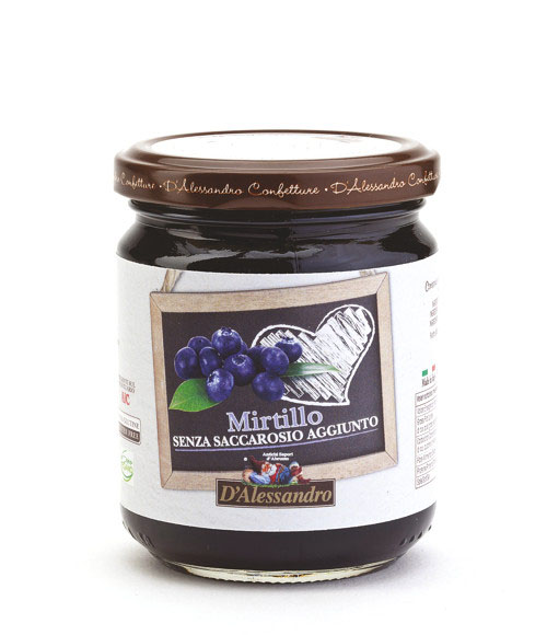 Конфитюр из черники без добавления сахара 230 г, Confettura di mirtilli senza zucchero, D'Alessandro confetture 230 gr