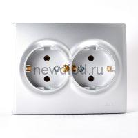 KARINA Розетка двойная с/з керамика матовое серебро (10шт/120шт)